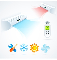 Air conditioners cool fun climate element icons vector