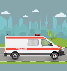 ambulance car city landscape with vector image