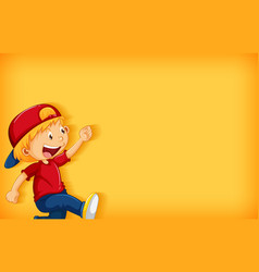 Background template design with happy boy walking vector