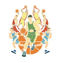 Basketball team player dunking dripping ball vector
