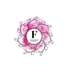 Beauty monogram emblem vector image