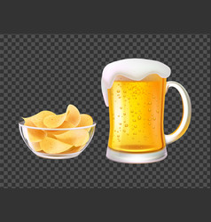 Beer in mug with foam and chips in bowl for snack vector
