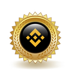 binance cryptocurrency coin gold badge vector image
