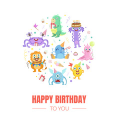 Birthday card with cute monsters vector