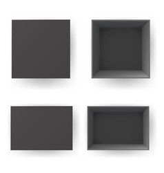 black box top view isolated paper open realistic vector image