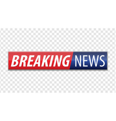 breaking news red blue banner with white text vector image