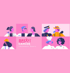 breast cancer month banner diverse women worker vector image