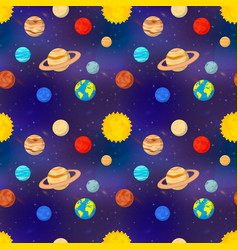bright cartoon planets of solar system on deep vector image