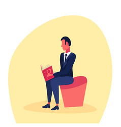 businessman sitting reading book successful study vector image