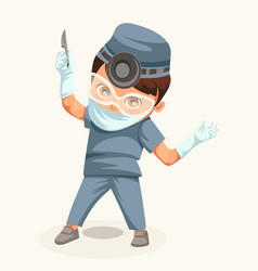 Cartoon doctor surgeon colorful poster vector