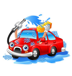 Cartoon funny car washing with water pipe and spon vector