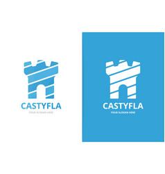 castle logo combination unique fortress logotype vector image