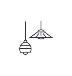 Ceiling lamps line icon sign vector
