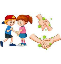 Children touch each other hands with germs vector