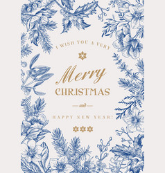 Christmas botanical card vector