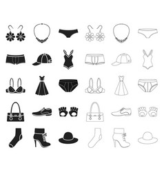 clothes and accessories blackoutline icons in set vector image