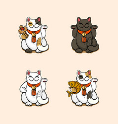 collection of four lucky cats vector image