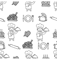 Cook white and black seamless pattern vector image