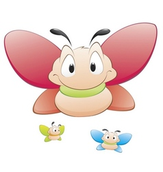 cute cartoon butterflies vector image