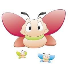 cute cartoon butterflies vector image vector image