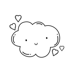 Cute cloud cartoon in black and white vector
