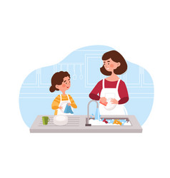 Daughter helping her young mother to wash vector