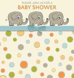 Delicate baby shower card with little elephants vector image