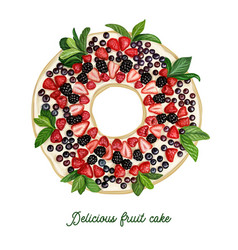 Delicious fruit cake top view drawing vector