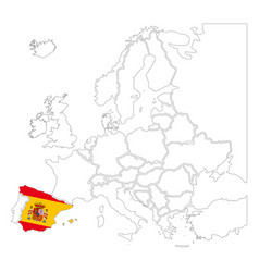 detailed spain silhouette with national flag on vector image