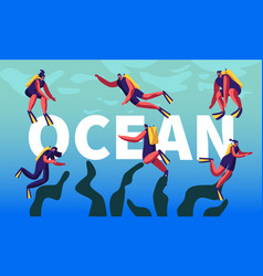 divers in ocean concept snorkeling male and vector image
