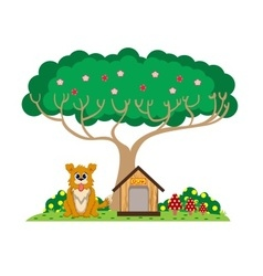 Dog and house under the tree vector image