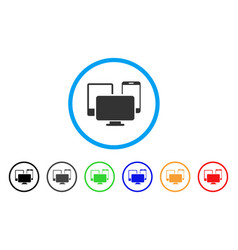 electronic devices rounded icon vector image