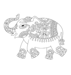 Ethnic indian elephant line original drawing vector