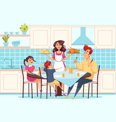 family with children sitting at dining table vector image