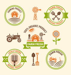 farm fresh food and organic products badges vector image