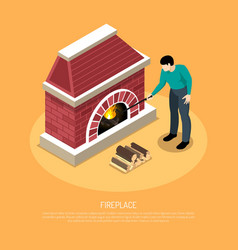 Fire place isometric vector