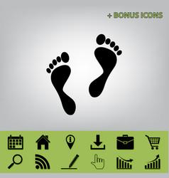foot prints sign black icon at gray vector image