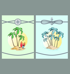 Framed color with palm trees vector