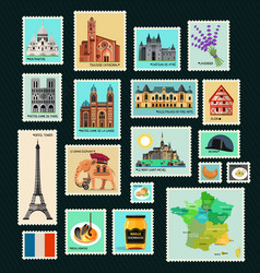 France travel stamps vector