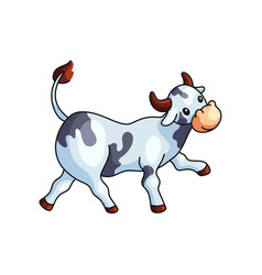 Funny black and white spotted cow going straight vector