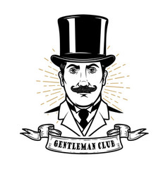 Gentleman club man head in vintage hat design vector