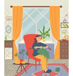 girl sitting in armchair and knitting image vector image