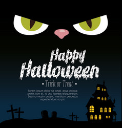 halloween card with enchanted castle and eyes cat vector image