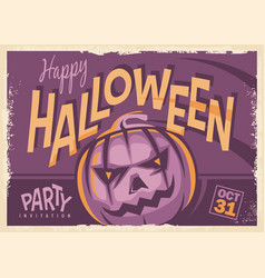 Halloween party retro invitation card design vector