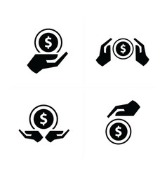 hand and coins set vector image