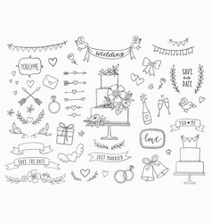 hand drawn doodle wedding collection vector image