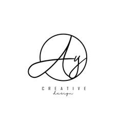 Handwriting letters ay a y logo design vector