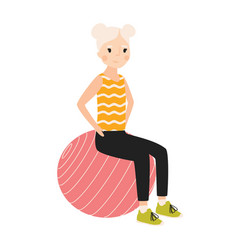 happy girl sitting on gymnastic or balance ball vector image