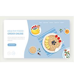 healthy food online website landing page vector image