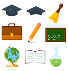 Icon collection set cartoon poster school college vector